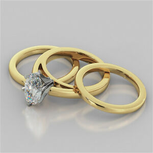 2.00 Ct Oval Cut Moissanite Trio Band Set 14K Solid Yellow Gold Engagement Ring