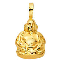 Solid 14k Gold Yellow Gold 3-d Buddha Charm Pendant