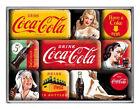 Retro 9 pc Magnet Set 'COCA COLA Vintage look Classic Images Yellow Red Licensed
