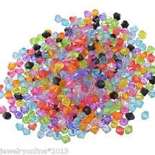 1000 Mix Doppelkegel Perlen Bicone Rhomben Facettiert Beads Acrylperlen 6x6mm
