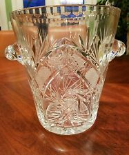 Large Heavy Cut Lead Crystal Champagne Wine Cooler Ice Bucket