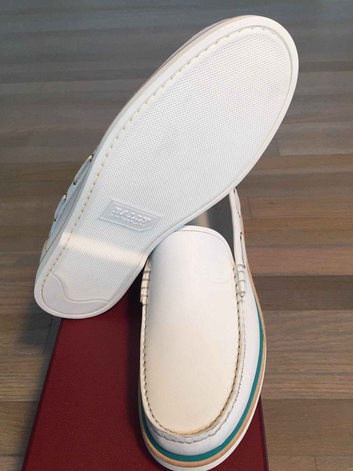 600  Bally Pelle White Boat Shoes size US Switzerland 11 Made in Switzerland US 7b6468