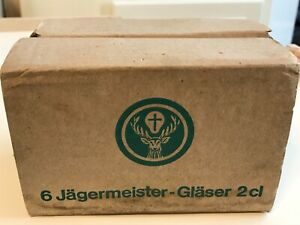 6 JAGERMEISTER 1OZ SIFTING SHOT GLASSES 2CL IN ORIGINAL BOX