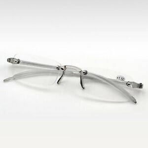 83632d18d97 Unisex Mens Womens Rimless Resin Reading Glasses Eye Reader Grey + ...