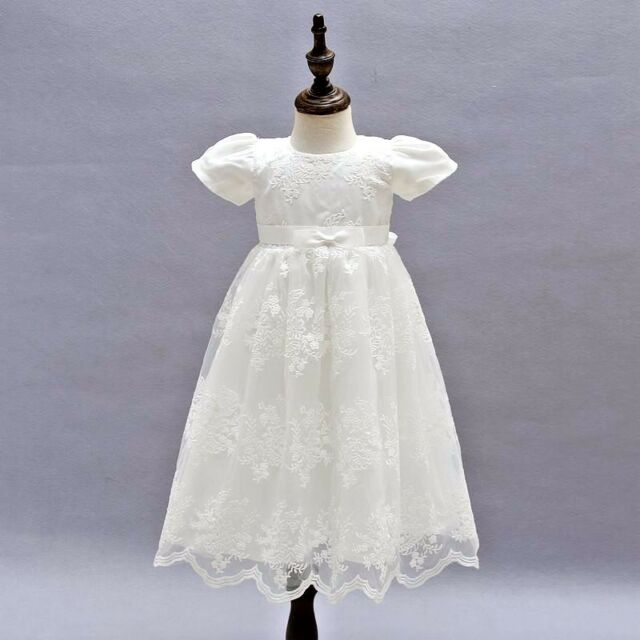 Baby Girls Long Sleeve Christening Dress Classic Embroidered Baptism Tulle Dress Xopzsiay