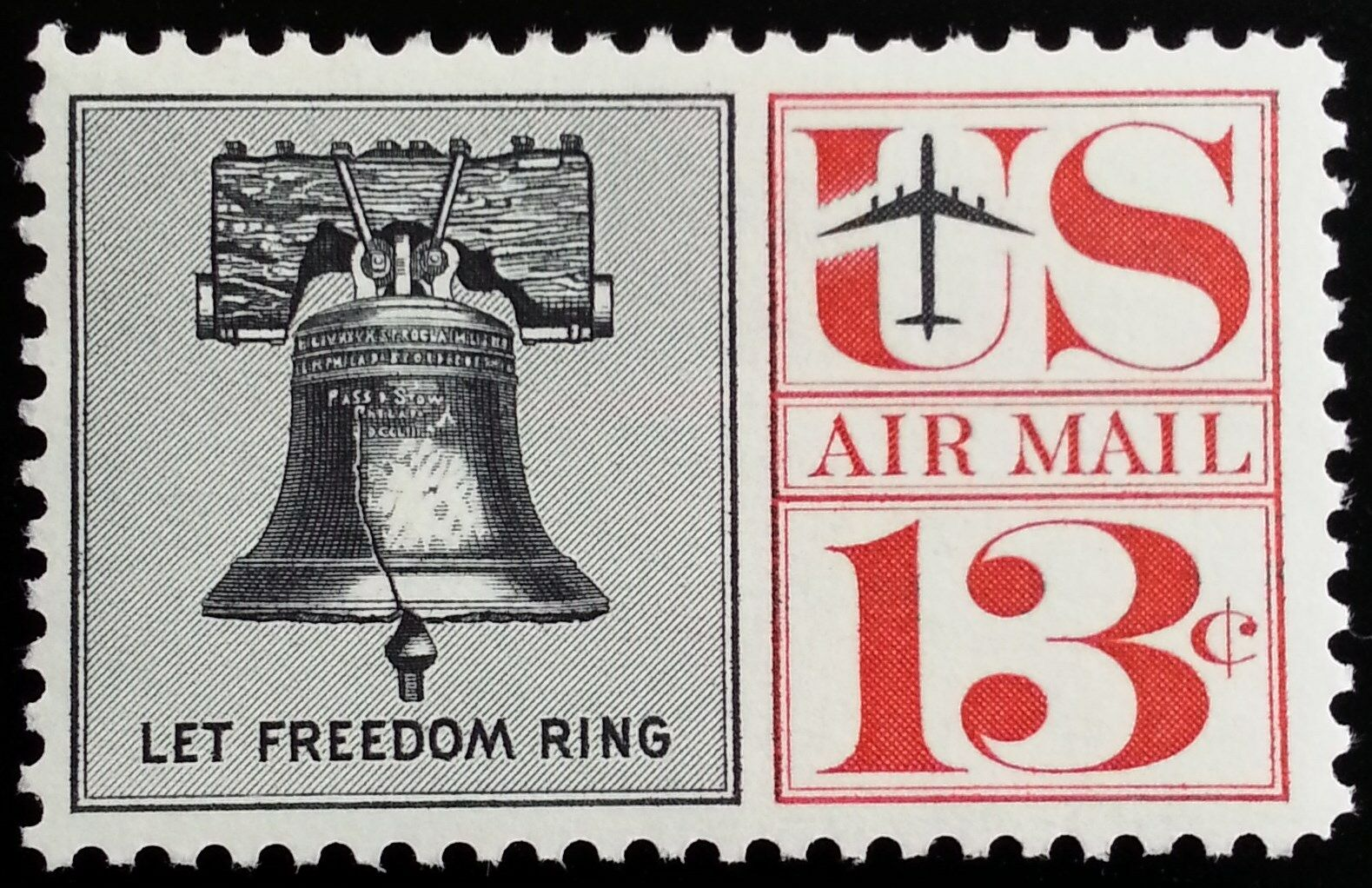 1961 13c Liberty Bell, Let Freedom Ring, Air Mail Scott