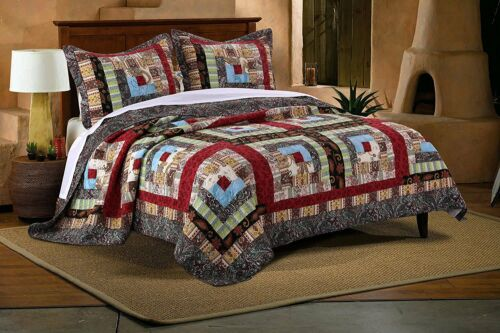 BEAUTIFUL LOG CABIN LODGE COUNTRY SOUTHWEST WESTERN BLUE RED BROWN QUILT SET