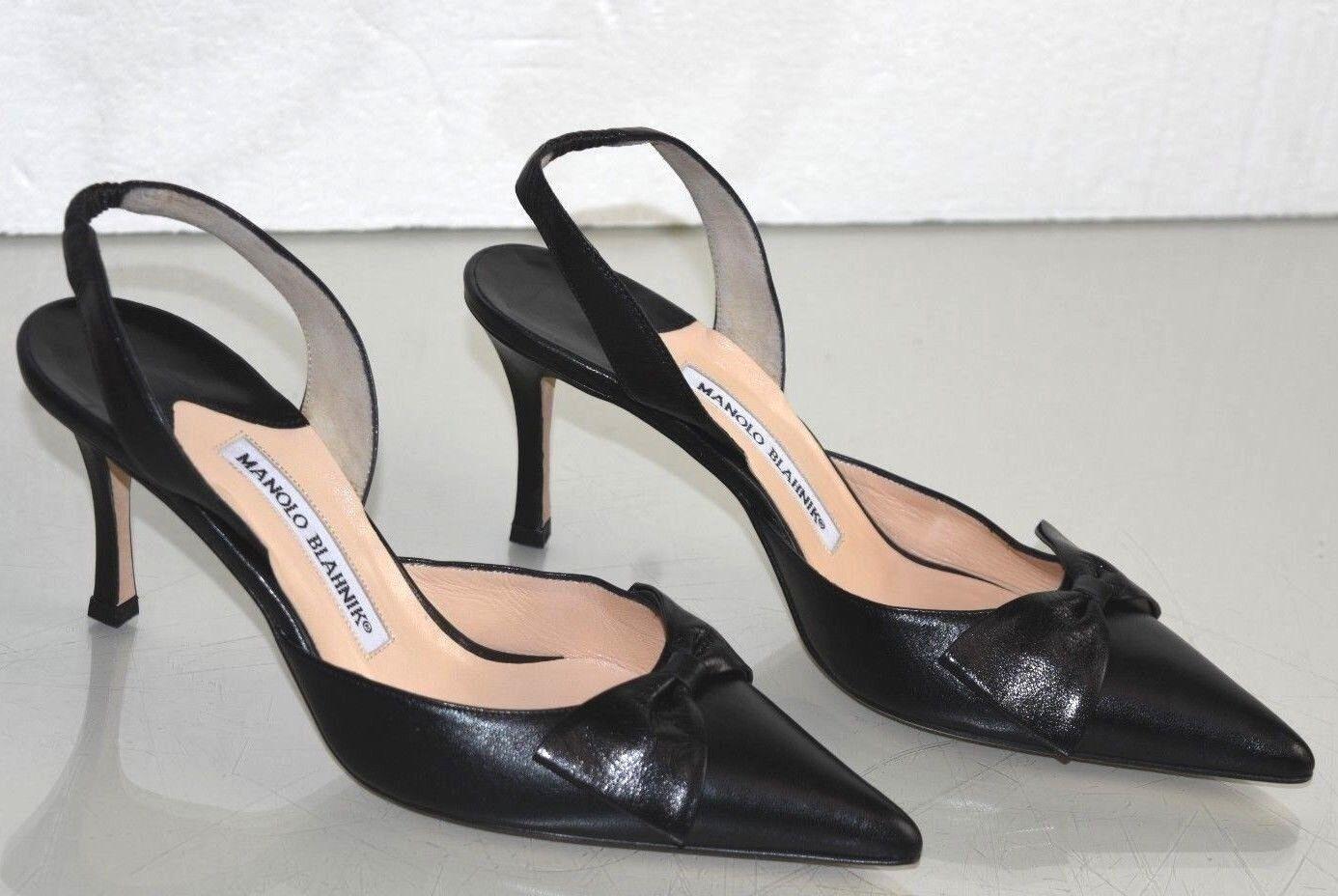 825 Nueva Nueva Nueva Manolo Blahnik Carolyne Negro Cuero Zapatos Arco BB Tacones Zapatos 38  grandes ahorros