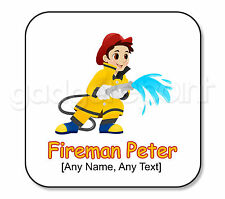 Personalised Gift Hero Fire Fighter Fireman Drinks Coaster Kids Present Square