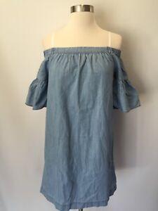 f94e11eba2eb New Madewell JCREW denim azalea off-the-shoulder dress Blue Sz XS ...
