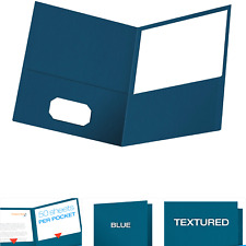 New Listingoxford Twin Pocket Folders Textured Paper Letter Size Blue Holds 100 Shee