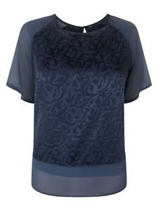 NEW-EASTEX-Ladies-Blue-Short-Sleeve-Party-Top-Size-10-20-Lined
