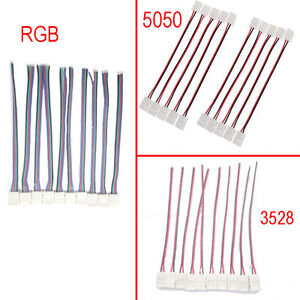 Details about 3528 5050 RGB Led Strip Connector Cable Wire Led Light on