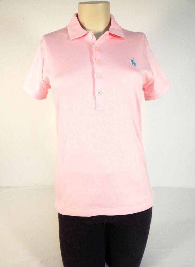 d470b7170fb447 Ralph Lauren Pink Short Sleeve Polo Shirt bluee Polo Pony Womens Medium M  NWT