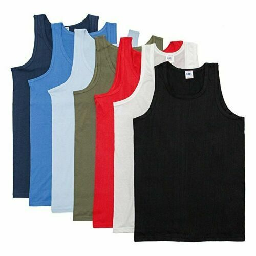 Mens Summer Assorted Pack Plus Size Cotton Training Tank Top