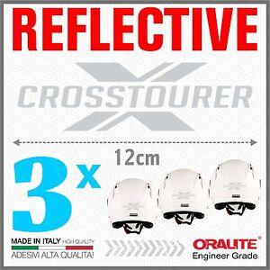 3x-Rifrangenti-ADESIVI-Grigio-Bianco-compatibile-VRF-1200-X-HONDA-CROSSTOURER