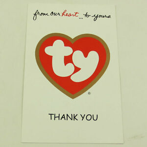TY Beanie Baby Thank You Letter Card for 2003 Tan Thank You Bear (UK version)