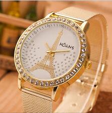 Women Fashion Bracelet Crystal Tower Gold Stainless Steel Mesh Band Wrist Watch