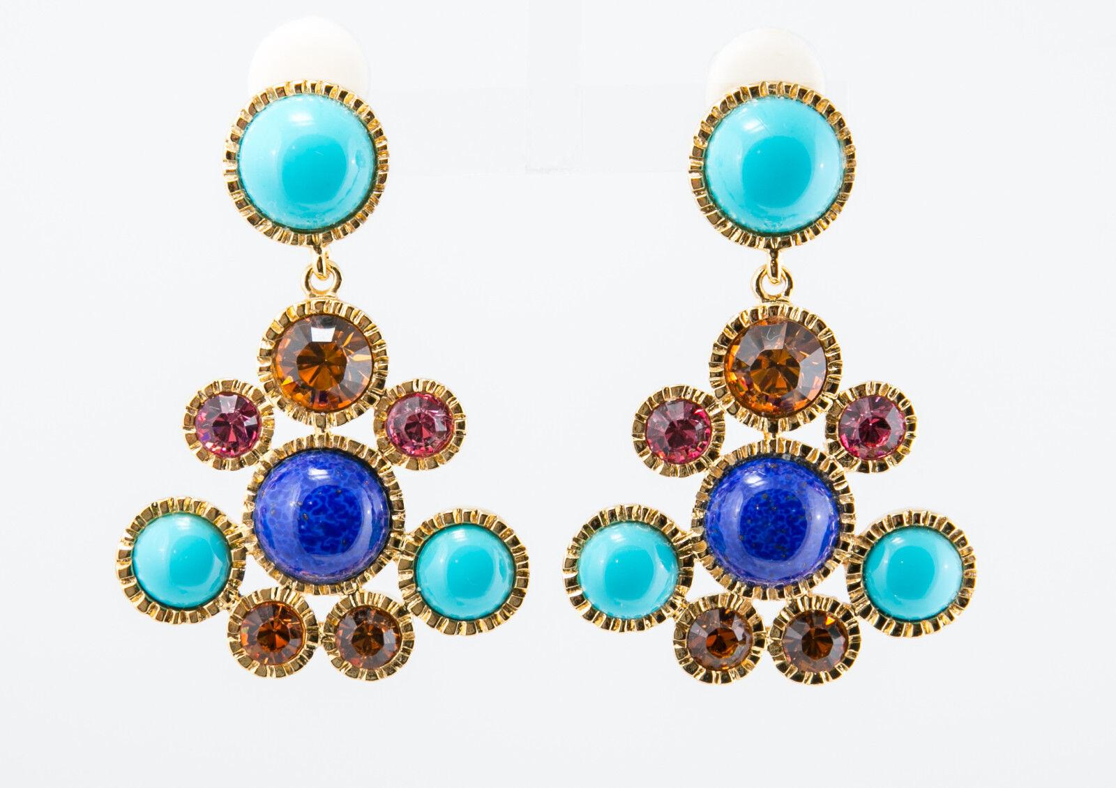 Kenneth Jay Lane Glamour Lapiz Turquoise Pastel Cluster Drop Chandelier Earrings
