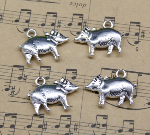 4~20pcs Cute Fat Pig Crafts Alloy Charms Pendants Jewelry Making DIY 20*15mm