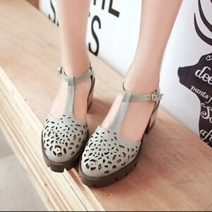 Women-Ladies-Retro-Hollow-Out-Round-Toe-Ankle-Strap-Low-Block-Heel-Oxford-Shoes