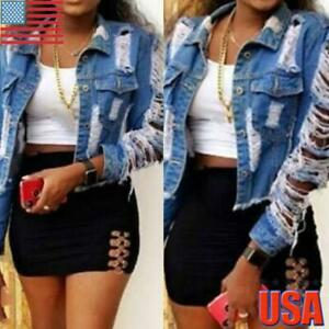 Women-039-s-Ripped-Hole-Denim-Jacket-Ladies-Casual-Short-Coat-Jeans-Buttons-Outwear