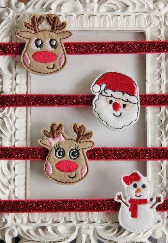 Natale Glitter Sparkle elastico Fascia Per Capelli Bambina Renna Babbo Natale Pupazzo di Neve Morbido