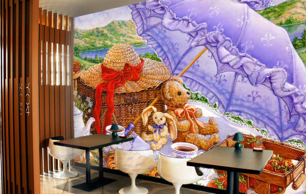 3D Teddy Bear Umbrella 556 Wall Paper Wall Print Decal Wall Deco Indoor Mural