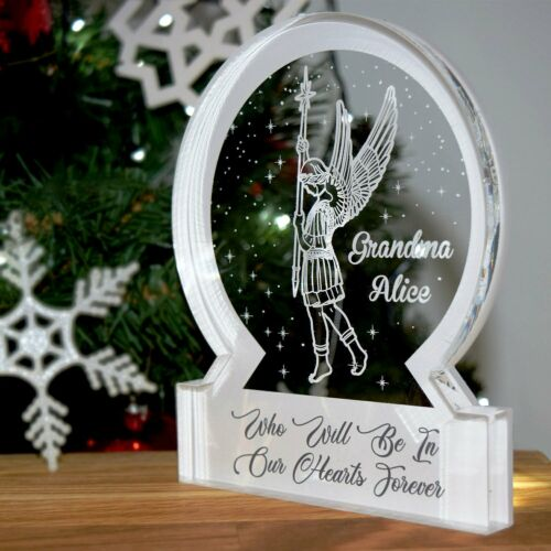 White Archangel Memorial Snow Globe Acrylic Themed Ornament Bespoke Gift
