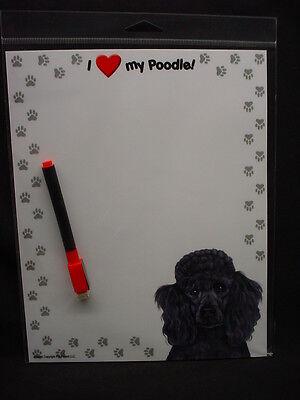 BLACK POODLE Magnet DRY ERASE list MESSAGE note ERASEABLE MEMO BOARD puppy dog