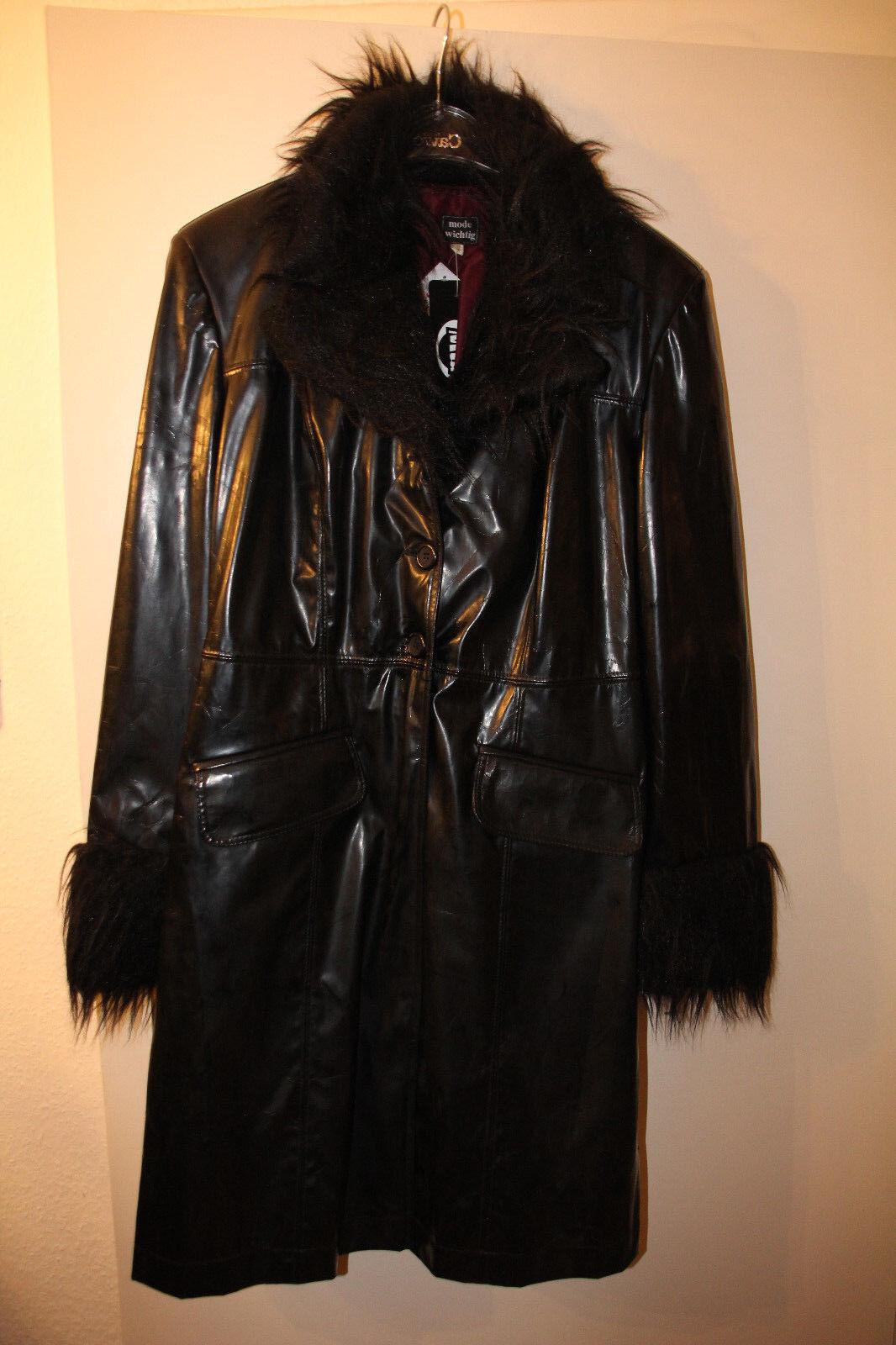 Schwarzer PVC-Mantel mit Plüschkragen von Mode Wichtig, Gr. XL