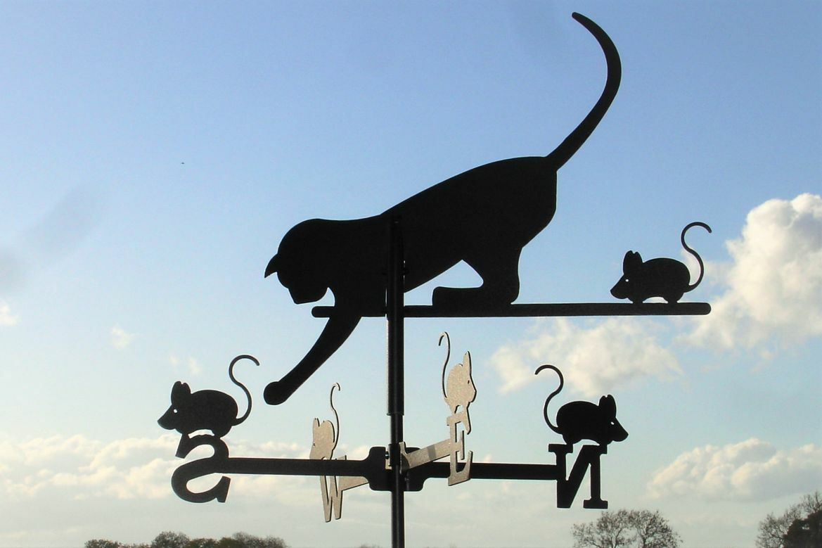 Standard Cat and Mouse Metal Weathervane (Post Fixing Bracket)