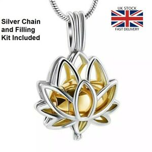 Gold-Lotus-Flower-Jewellery-Cremation-Urn-Pendant-Ashes-Necklace-UK