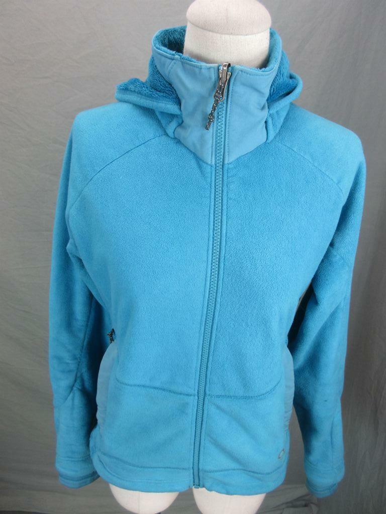 Mountain Hardwear Size XS Womens Blue Full Zip Fleece Hooded Jacket T444