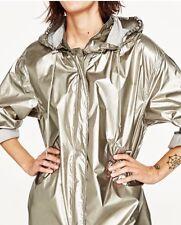 Zara Gold Silver Metallic Raincoat ☔️ Parka Size XS BNWT 5065/060
