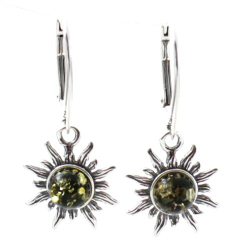 Sterling Silver 925 Dangle Women Jewelry Baltic Amber Drop Green Sun Earrings