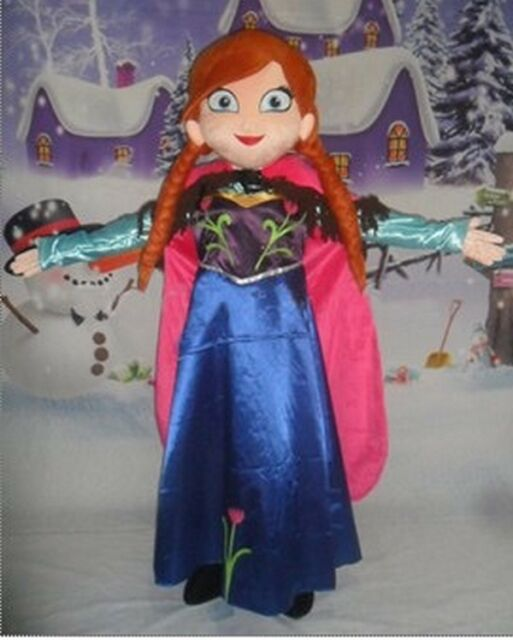 Anna Frozen Princess Mascot Costume Cartoon Character Adult Suit Hot Sale & Elsa Princess From Frozen Mascot Costume Cartoon Character Adult ...