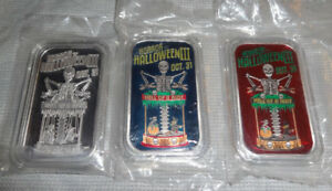 Set-Of-3-HELL-OF-A-RIDE-Halloween-999-Silver-Bars-SERIAL-31-Witch-Mummy-OOP