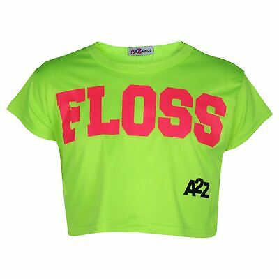 Other Generous Kids Girls Crop Top Designer Floss Neon Green Stylish Fashion T Shirt Tops 5-13y