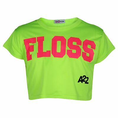 Generous Kids Girls Crop Top Designer Floss Neon Green Stylish Fashion T Shirt Tops 5-13y Other