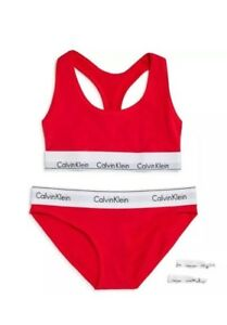 237898c730da2 NWT Calvin Klein Women Red Panty Bralette Hair Ties Set S Small Bra ...