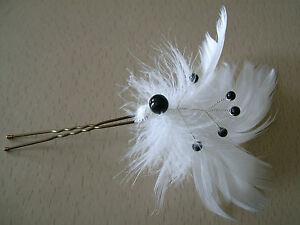 Pic-Epingle-Cheveux-Chignon-accessoire-Noir-Blanc-p-robe-Mariee-Mariage-plumes