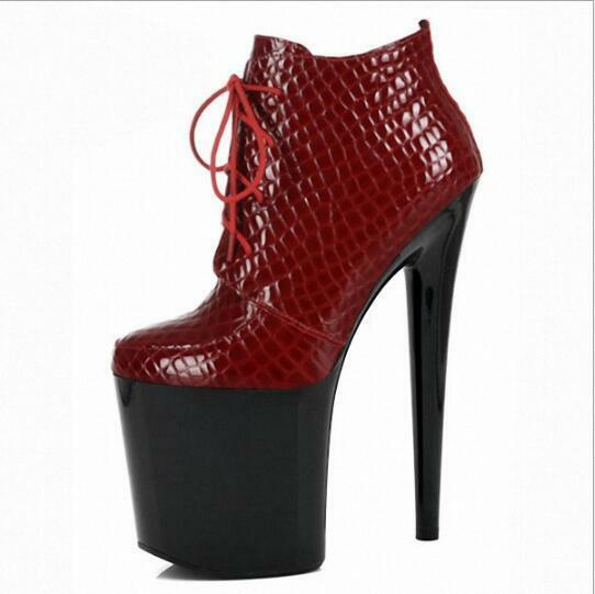 Trendy Sexy Serpentine Serpentine Serpentine Lace Up 20cm Pumps High Heels femmes Bar Platform chaussures 06031c