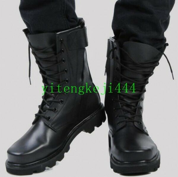 Chic Riding Boots Mens Military Boots Black Leather Knee High Outdoors Boots New