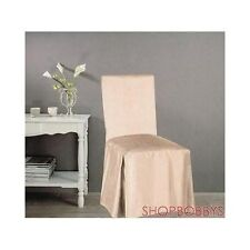 Jenny Faux Silk Dining Chair Cover - Beige