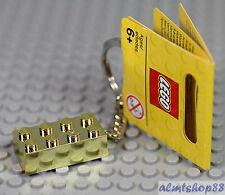 LEGO - Golden 2x4 Brick Keychain Keyring Chrome Gold Limited Edition Mr. Block