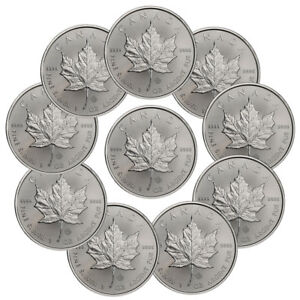 Lot of 10 - 2019 Canada 1 oz. Silver Maple Leaf $5 Coins GEM BU SKU55537