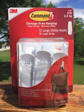 3M Command Damage-Free Hanging 5 lb 12 large utility hooks 18 large strips