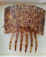 Vintage Celluloid/tortoise Shell Leaf Hair Comb, Original, 6 1/2 By 6 1/2 Tiara