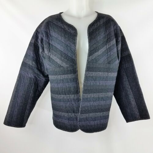 Handmade Quilted Open Front Jacket in Black & Grey